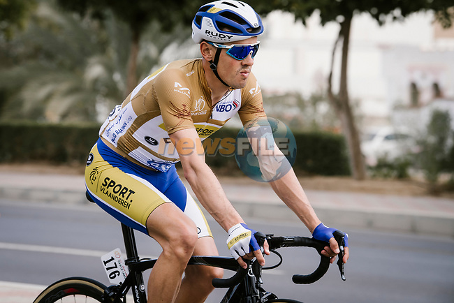 Gold Jersey Preben Van Hecke (BEL) Sport Vlaanderen-Baloise during Stage 6 of the 10th Tour of Oman 2019, running 135.5km from Al Mouj Muscat to Matrah Corniche, Oman. 21st February 2019.<br /> Picture: ASO/P. Ballet   Cyclefile<br /> All photos usage must carry mandatory copyright credit (© Cyclefile   ASO/P. Ballet)