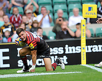London, England. Adam Powell of Saracens scores a try during the Aviva Premiership match between London Wasps  and Harlequins at Twickenham Stadium on September 1, 2012 in Twickenham, England.