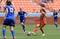 Houston, TX - Saturday May 27, 2017: Andressa passes the ball during a regular season National Women's Soccer League (NWSL) match between the Houston Dash and the Seattle Reign FC at BBVA Compass Stadium.