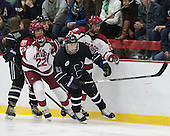Zach Ledford (Bentley - 20), Devin Tringale (Harvard - 22), Jared Rickord (Bentley - 27), Luke Esposito (Harvard - 9) - The Harvard University Crimson defeated the visiting Bentley University Falcons 3-0 on Saturday, October 26, 2013, in Harvard's season opener at Bright-Landry Hockey Center in Cambridge, Massachusetts.