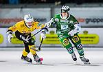 Stockholm 2013-12-30 Bandy Elitserien Hammarby IF - Broberg S&ouml;derhamn IF :  <br /> Hammarbys Adam Gilljam i kamp om bollen med Brobergs Martin S&ouml;derberg <br /> (Foto: Kenta J&ouml;nsson) Nyckelord: