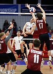 KENOSHA, WI - APRIL 28:  Springfield College's Joseth Irizarry Feliciano hits one past the Stevens Institute defense the Division III Men's Volleyball Championship held at the Tarble Athletic and Recreation Center on April 28, 2018 in Kenosha, Wisconsin. (Photo by Steve Woltmann/NCAA Photos via Getty Images)