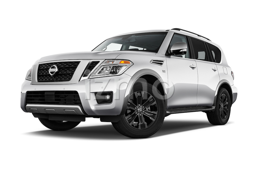 Stock pictures of low aggressive front three quarter view of 2018 Nissan Armada Platinum 5 Door SUV Low Aggressive