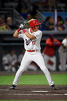 Auburn Doubledays Jeremy Ydens (17) at bat during a NY-Penn League game against the West Virginia Black Bears on August 23, 2019 at Falcon Park in Auburn, New York.  West Virginia defeated Auburn 6-5, the second game of a doubleheader.  (Mike Janes/Four Seam Images)
