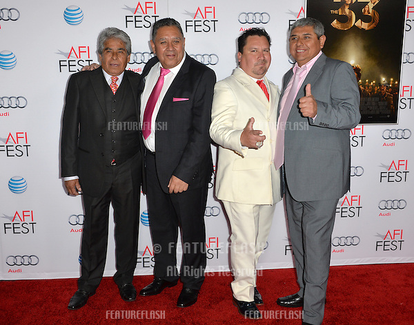 Chilean miners Mario Gomez, Luis Urzua, Edison Pena &amp; Juan Carlos Aguilar at the premiere of &quot;The 33&quot;, part of the AFI FEST 2015, at the TCL Chinese Theatre, Hollywood. <br /> November 9, 2015  Los Angeles, CA<br /> Picture: Paul Smith / Featureflash