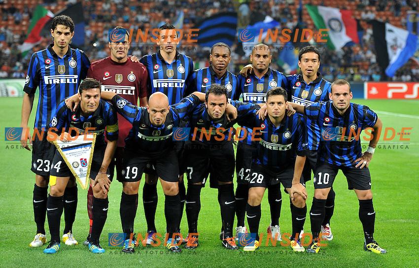 """Formazione (Inter).Milano 14/9/2011 Stadio """"Giuseppe Meazza"""".Serie A 2011/2012 UEFA Champions League.Football Calcio Inter Vs Trabzonspor.Foto Insidefoto Alessandro Sabattini."""