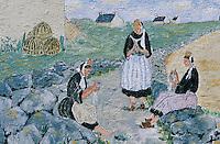 Europe/France/Bretagne/29/Finistère/Saint-Pierre-Penmarc'h: Mur peint représentant des scènes de la vie bigoudène - femme et broderie
