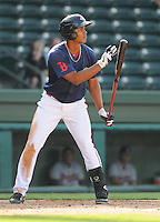 Infielder Xander Bogaerts (23) of the Greenville Drive, Class A affiliate of the Boston Red Sox, in the first game of a doubleheader against the Rome Braves on August 15, 2011, at Fluor Field at the West End in Greenville, South Carolina. Rome defeated Greenville, 6-3. (Tom Priddy/Four Seam Images)