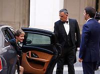 Il Presidente del Consiglio Matteo Renzi, a destra, accoglie il presidente svizzero Simonetta Sommaruga a Palazzo Chigi, Roma, 18 maggio 2015.<br /> Italian Premier Matteo Renzi, right, welcomes Swiss President Simonetta Sommaruga at Chigi Palace, Rome, 18 May 2015.<br /> UPDATE IMAGES PRESS/Riccardo De Luca