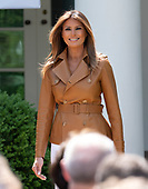 First Lady Melania Trump walks to the podium as she arrives to announce her Initiatives in the Rose Garden of the White House in Washington, DC on Monday, May 7, 2018.<br /> Credit: Ron Sachs / CNP<br /> (RESTRICTION: NO New York or New Jersey Newspapers or newspapers within a 75 mile radius of New York City)