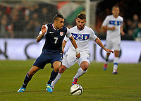 Danny Williams  (l, USA) vs. Antonio Nocerino (ITA), during the friendly match Italy against USA at the Stadium Luigi Ferraris at Genoa Italy on february the 29th, 2012.