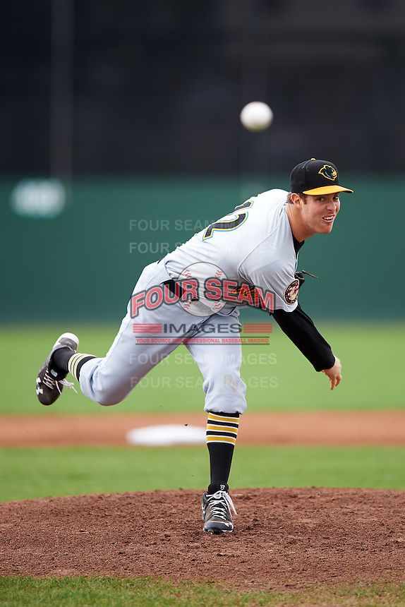 West Virginia Black Bears starting pitcher James Marvel (12) during a game against the Batavia Muckdogs on August 21, 2016 at Dwyer Stadium in Batavia, New York.  West Virginia defeated Batavia 6-5.  (Mike Janes/Four Seam Images)