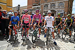 The jersey leaders line up for the stsrt of Stage 10 of the 2019 Giro d'Italia, running 145km from Ravenna to Modena, Italy. 21st May 2019<br /> Picture: Gian Mattia D'Alberto/LaPresse | Cyclefile<br /> <br /> All photos usage must carry mandatory copyright credit (© Cyclefile | Gian Mattia D'Alberto/LaPresse)