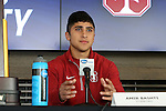 12 December 2015: Stanford's Amir Bashti. The NCAA held a press conference at Three Points at the Sporting Kansas City offices one day before the Clemson University Tigers play the Stanford University Cardinal in a 2015 NCAA Division I Men's College Cup championship match.