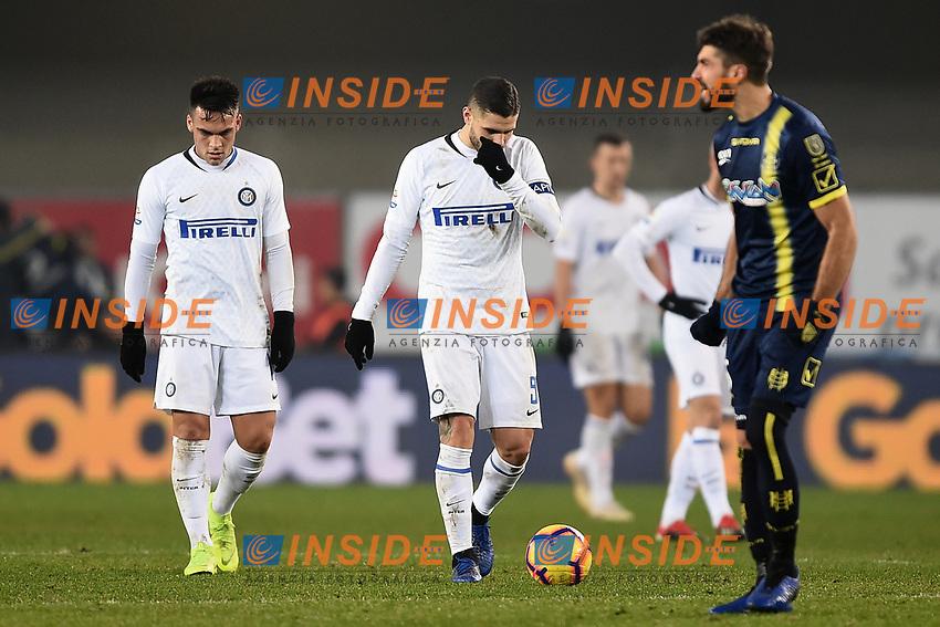 Inter players Lautaro Martinez and Mauro Icardi look dejected during the Serie A 2018/2019 football match between Chievo Verona and Inter at stadio Bentegodi, Verona, December 22, 2018 <br />  Foto Daniele Buffa / Image Sport / Insidefoto
