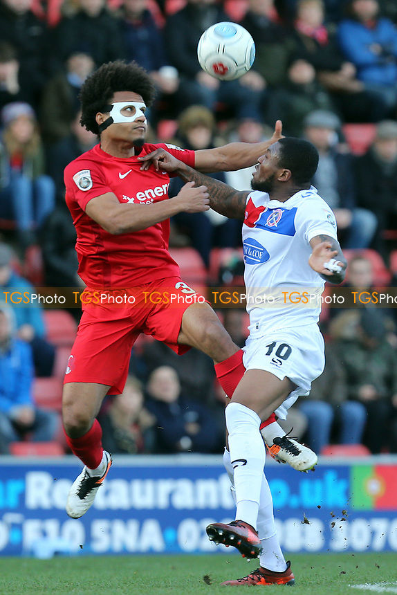 Morgan Ferrier of Dagenham and Joe Widdowson of Leyton Orient during Leyton Orient vs Dagenham & Redbridge, Vanarama National League Football at the Matchroom Stadium on 26th December 2017