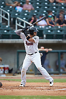 Alfredo Gonzalez (34) of the Birmingham Barons at bat against the Pensacola Blue Wahoos at Regions Field on July 7, 2019 in Birmingham, Alabama. The Barons defeated the Blue Wahoos 6-5 in 10 innings. (Brian Westerholt/Four Seam Images)
