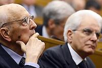"""Roma, 31 Marzo 2015<br /> Giorgio Napolitano e Sergio Mattarella<br /> Camera dei Deputati<br /> Convegno """"Perche la politica"""" in occasione dei 100 anni di Pietro Ingrao."""