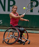 France, Paris, 04.06.2014. Tennis, French Open, Roland Garros, Wheelchair player Jiske Griffioen (NED)<br /> Photo:Tennisimages/Henk Koster