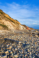 Coastal clay cliffs and rock formations along Moshup Beach, Gay Head, Aquinnah, Martha's Vineyard, Massachusetts, USA.