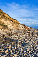 Coastal clay cliffs and rock formations along Moshup Beach, Gay Head, Aquinnah, Martha's Vineyard, Massachusetts, USA.