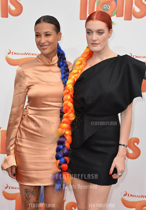 LOS ANGELES, CA. October 23, 2016: Singers Icona Pop - Caroline Hjelt &amp; Aino Jawo - at the Los Angeles premiere of &quot;Trolls&quot; at the Regency Village Theatre, Westwood.<br /> Picture: Paul Smith/Featureflash/SilverHub 0208 004 5359/ 07711 972644 Editors@silverhubmedia.com