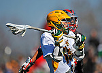 17 March 2012: University of Vermont Catamount Midfielder Cal Case, a Senior from Columbus, Ohio, in action against the Sacred Heart University Pioneers at Virtue Field in Burlington, Vermont. The Catamounts defeated the visiting Pioneers 12-11 with only 10 seconds remaining in their non-conference matchup. Mandatory Credit: Ed Wolfstein Photo