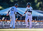 19 June 2018: Vermont Lake Monsters outfielder Payton Squier rounds third, getting a hand from coach Hiram Bocachica, after hitting a solo home run in the 2nd inning against the Connecticut Tigers at Centennial Field in Burlington, Vermont. The Lake Monsters defeated the Tigers 5-4 in the conclusion of a rain-postponed Lake Monsters Opening Day game started June 18. Mandatory Credit: Ed Wolfstein Photo *** RAW (NEF) Image File Available ***