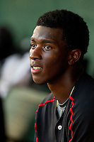 Kannapolis Intimidators shortstop Tim Anderson (2) in the dugout during the South Atlantic League game against the Greenville Drive at CMC-Northeast Stadium on June 29, 2013 in Kannapolis, North Carolina.  The Drive defeated the Intimidators 5-3.   (Brian Westerholt/Four Seam Images)