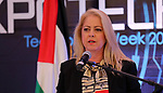 Advisor to Palestinian Prime Minister Khairia Rasas attends the Palestine technological Expotech 2018, in the West Bank city of Ramallah on September 24, 2018. Photo by Prime Minister Office