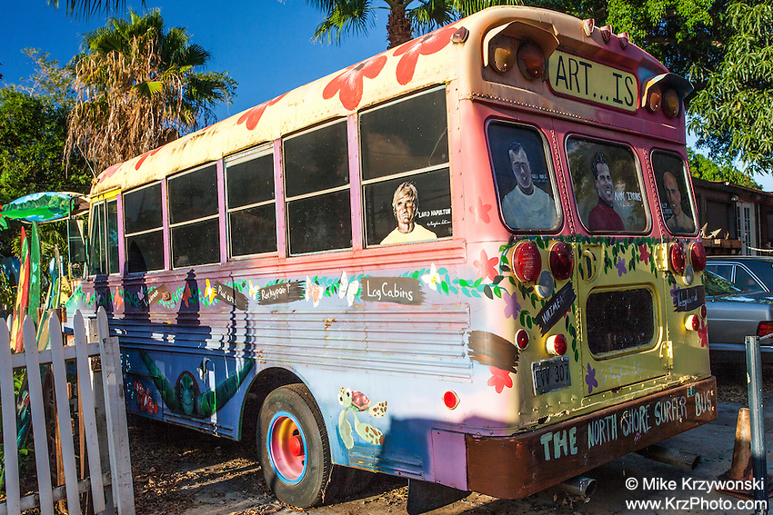 School bus painted  by Ron Artis at his outdoor art gallery in Haleiwa, Oahu, Hawaii