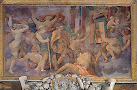 Ignorance Chased Away, showing King at the gate of the Temple of Jupiter with blindfolded ignorant men left behind, fresco by Rosso Fiorentino, 1535-37, in a carved stucco frame, in the Galerie Francois I, begun 1528, the first great gallery in France and the origination of the Renaissance style in France, Chateau de Fontainebleau, France. The Palace of Fontainebleau is one of the largest French royal palaces and was begun in the early 16th century for Francois I. It was listed as a UNESCO World Heritage Site in 1981. Picture by Manuel Cohen