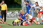 Mannheim, Germany, September 27: During the 1. Bundesliga Damen Saison 2014/15 field hockey match between Mannheimer HC and TSV Mannheim on September 27, 2014  Mannheimer Hockey Club in Mannheim, Germany. Final score 3-3 (2-3). (Photo by Dirk Markgraf / www.265-images.com) *** Local caption *** Friederike Schreiber (TW) of TSV Mannheim, Lydia Haase #12 of Mannheimer HC,  Tanja Fabig #31 of TSV Mannheim, Violetta Keibel #44 of TSV Mannheim