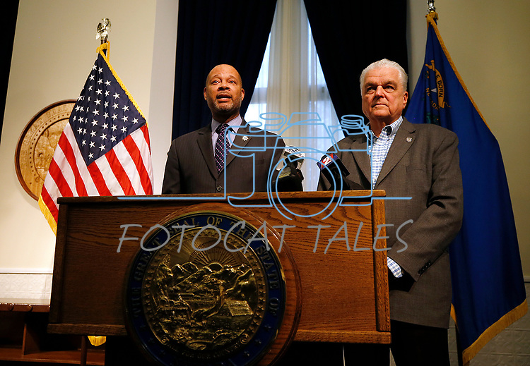 Nevada Gov. Steve Sisolak and Attorney General Aaron Ford answer media questions about weapons-grade plutonium that was shipped to Nevada without the state's knowledge, during a press conference, in Carson City, Nev., on Wednesday, Jan. 30, 2019. <br /> Photo by Cathleen Allison/Nevada Momentum