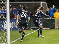 SANTA CLARA, CA - April 6, 2013: San Jose forward Chris Wondolowski (8) celebrates his goal during the San Jose Earthquakes vs Vancouver Whitecaps FC game at Buck Shaw Stadium in Carson, California. Final score San Jose Earthquakes 1, Vancouver Whitecaps FC 1.