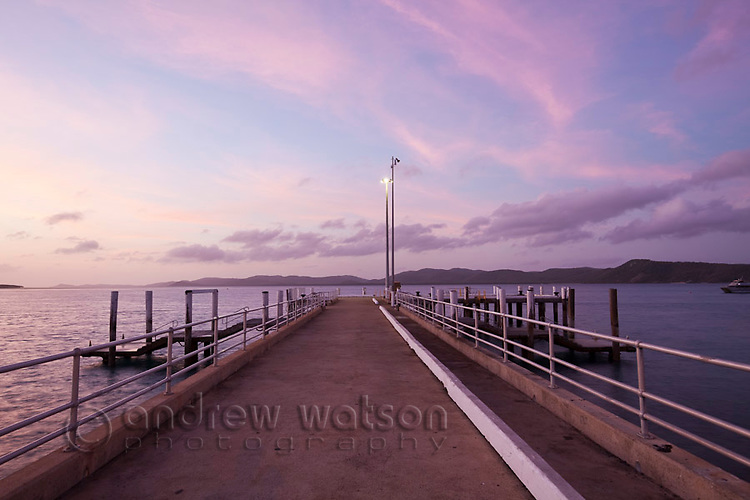 View along Engineers Wharf at dusk.  Thursday Island, Torres Strait Islands, Queensland, Australia
