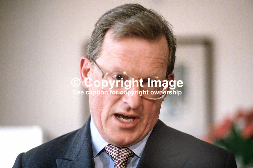 Tom King, MP, Conservative Party, Secretary of State for N Ireland, UK, 19880406TK1.<br /> <br /> Copyright Image from Victor Patterson, 54 Dorchester Park, <br /> Belfast, UK, BT9 6RJ<br /> <br /> t1: +44 28 9066 1296 (from Rep of Ireland 048 9066 1296)<br /> t2: +44 28 9002 2446 (from Rep of Ireland 048 9002 2446)<br /> m: +44 7802 353836<br /> <br /> e1: victorpatterson@me.com<br /> e2: victorpatterson@gmail.com<br /> www.victorpatterson.com<br /> <br /> Please see my Terms and Conditions of Use at www.victorpatterson.com. It is IMPORTANT that you familiarise yourself with them.<br /> <br /> Images used on the Internet must be visibly watermarked i.e. &copy; Victor Patterson<br /> within the body of the image and copyright metadata must not be deleted. Images <br /> used on the Internet have a size restriction of 4kbs and will be chargeable at current<br />  NUJ rates unless agreed otherwise.<br /> <br /> This image is only available for the use of the download recipient i.e. television station, newspaper, magazine, book publisher, etc, and must not be passed on to any third <br /> party. It is also downloaded on condition that each and every usage is notified within 7 days to victorpatterson@me.com<br /> <br /> The right of Victor Patterson to be identified as the author is asserted in accordance with The Copyright Designs And Patents Act (1988). All moral rights are asserted. m