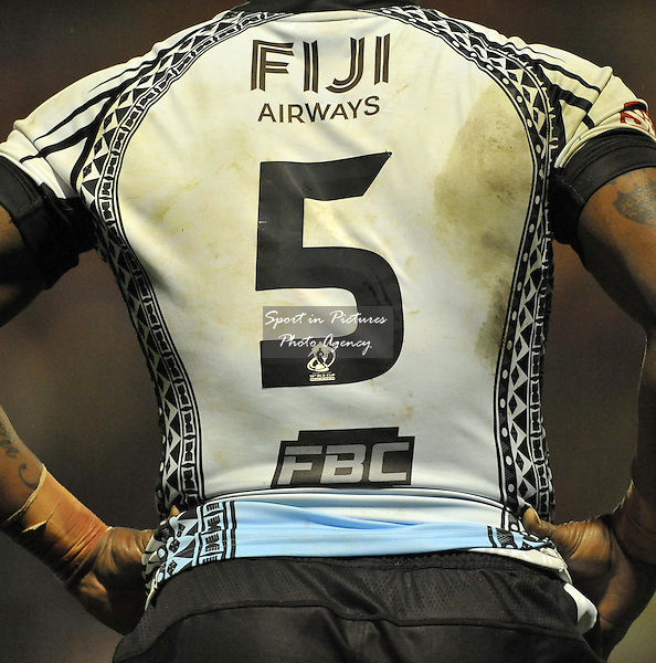 The back of Akuila Uate (Fiji) shirt  - PHOTO: Mandatory by-line: Garry Bowden/SIPPA/Pinnacle - Photo Agency UK Tel: +44(0)1363 881025 - Mobile:0797 1270 681 - VAT Reg No: 768 6958 48 - 28/10/2013 - Rugby League World Cup 2013, Fiji v Ireland, Spotland Stadium, Rochdale, England