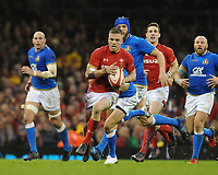 Wales Gareth Anscombe looks to offload <br /> <br /> Photographer Ian Cook/CameraSport<br /> <br /> 2018 NatWest Six Nations Championship - Wales v Italy - Sunday 11th March 2018 - Principality Stadium - Cardiff<br /> <br /> World Copyright &copy; 2018 CameraSport. All rights reserved. 43 Linden Ave. Countesthorpe. Leicester. England. LE8 5PG - Tel: +44 (0) 116 277 4147 - admin@camerasport.com - www.camerasport.com