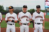 Aberdeen IronBirds Dalton Hoiles (23), Kyle Stowers (54) and Ryan Conroy (49) during pregame ceremonies before a NY-Penn League game against the Vermont Lake Monsters on August 19, 2019 at Leidos Field at Ripken Stadium in Aberdeen, Maryland.  Aberdeen defeated Vermont 6-2.  (Mike Janes/Four Seam Images)