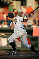 June 10th 2008:  Jeff Frazier (35) of the Erie Seawolves, Class-AA affiliate of the Detroit Tigers, follows through on a hit during a game at Jerry Uht Park in Erie, PA.  Photo by:  Mike Janes/Four Seam Images