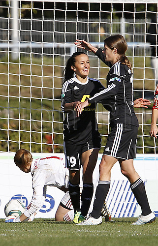 16 10 2011   Bundesliga FFC Frankfurt vs FC Bayern Munich. Goal celebration by Fatmire Bajramaj and Kerstin Garefrekes  . Mandatory Credit: ActionPlus