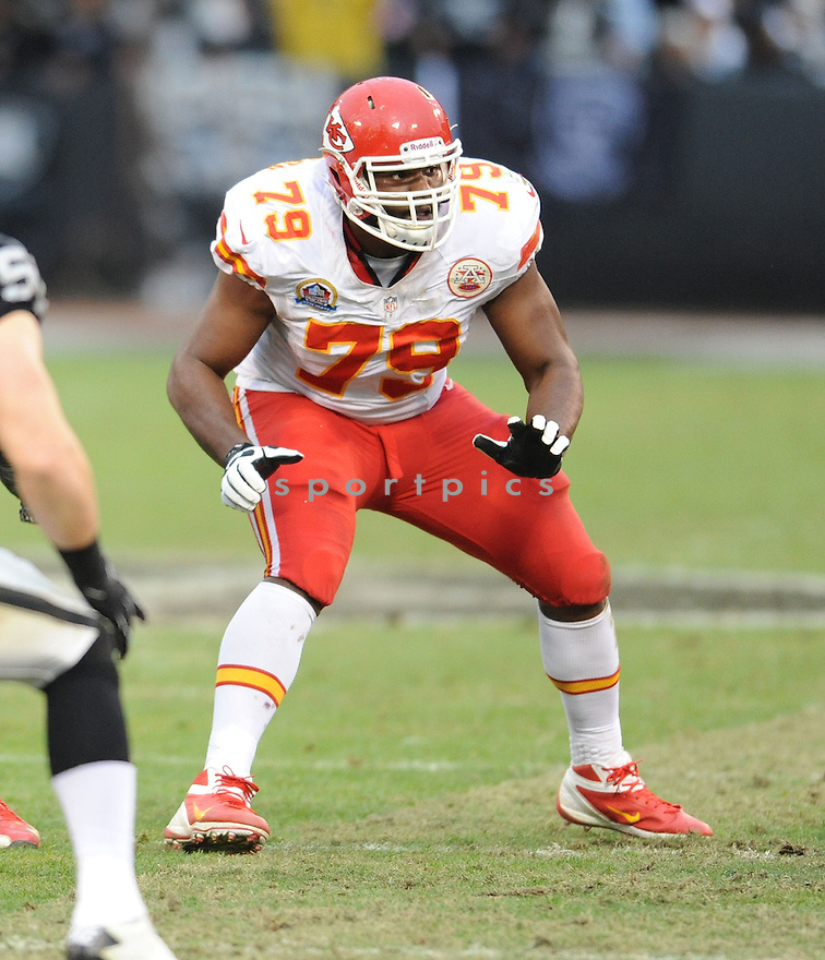 Kansas City Chiefs Donald Stephenson (79) in action during a game against the Raiders on December 16, 2012 at O.co Coliseum in Oakland, CA. The Raiders beat the Chiefs 15-0.
