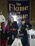 Emma and Ciara Powell and Jake Harrop at the flame of Slane celebrations. Photo:Colin Bell/pressphotos.ie