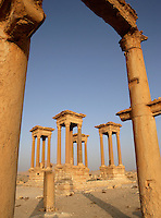 Tetrapylon, view from the Great Colonnade, reconstructed after 1963 by Syrian Directorate of Antiquities, Palmyra, Syria Picture by Manuel Cohen