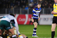 Rhys Priestland of Bath Rugby looks on. Aviva Premiership match, between Bath Rugby and Northampton Saints on February 10, 2017 at the Recreation Ground in Bath, England. Photo by: Patrick Khachfe / Onside Images