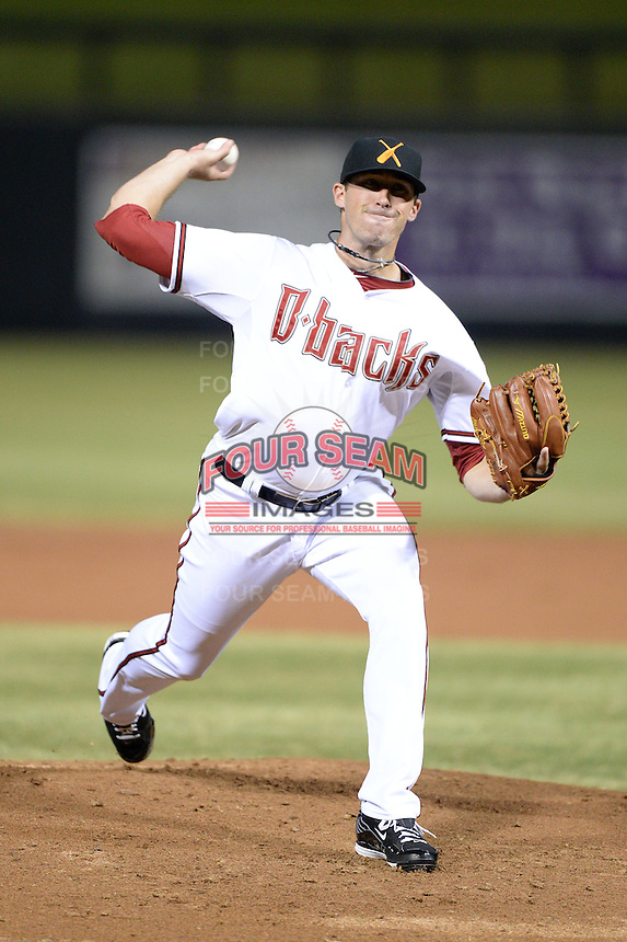 Salt River Rafters pitcher Bo Schultz (50), of the Arizona Diamondbacks organization, during an Arizona Fall League game against the Surprise Saguaros on October 15, 2013 at Salt River Fields at Talking Stick in Scottsdale, Arizona.  Surprise defeated Salt River 9-2.  (Mike Janes/Four Seam Images)