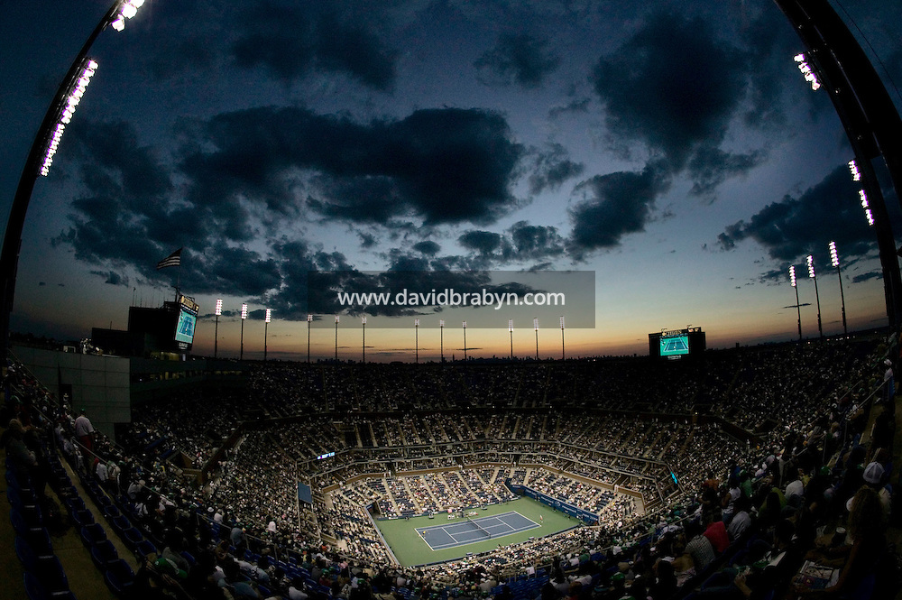 3 September 2005 - Flushing, NY - General view of the Arthur Ash stadium at the National Tennis Center in Flushing, USA, during a 2005 US Open match, 3 September 2005. Photo Credit: David Brabyn