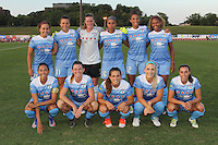 Piscataway, NJ - Saturday Aug. 27, 2016: Chicago Red Stars starting eleven prior to a regular season National Women's Soccer League (NWSL) match between Sky Blue FC and the Chicago Red Stars at Yurcak Field.