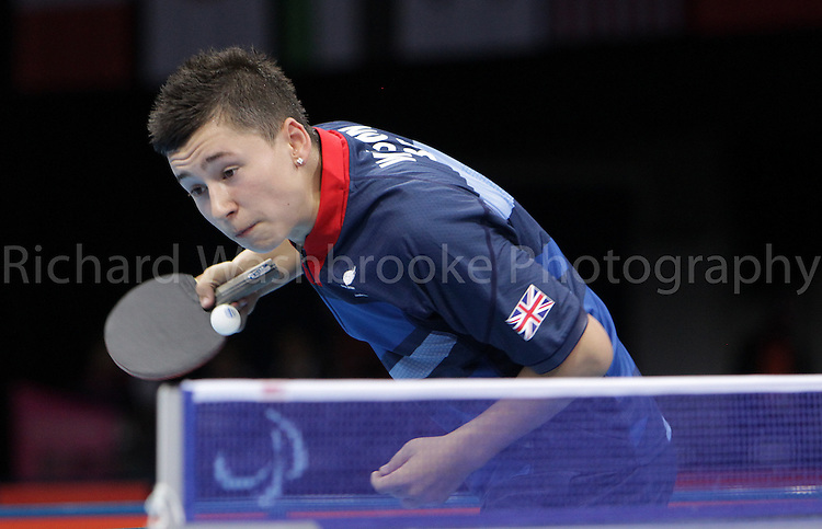 Paralympics London 2012 - ParalympicsGB - Table Tennis..Men's Singles - Class 8 Bronze Medal Match Ross Wilson  GBR vs Emil Andersson (SWE) held at the Excel Centre on the 3rd September 2012 at the Paralympic Games in London. Photo: Richard Washbrooke/ParalympicsGB